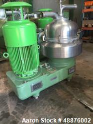 Used- Westfalia DA-100-76-117 Nozzle Disc Centrifuge. Stainless steel construction (product contact areas), max bowl speed 3...