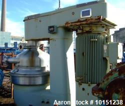 Used- Westfalia DA-200-76-573 Nozzle Disc Centrifuge. Max bowl speed 3080 rpm, belt drive, 150kw drive motor 500/3/50, 1.5kw...