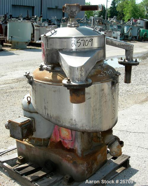 USED: Sharples DH-3 Nozljector centrifuge, 316/317 stainless steel. Max bowl speed 6250 rpm, separator design. Driven by a 4...