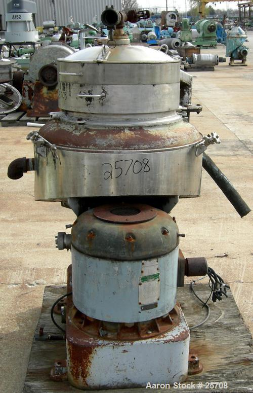USED: Sharples DH-3 Nozzljector disc centrifuge, 304 stainless steel, separator design. Max bowl speed 6350 rpm. Max operati...
