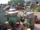 Used-Westfalia nozzle centrifuge, type RTA45-01-076. Material of construction is 316 stainless steel. Max bowl speed 7200 rp...