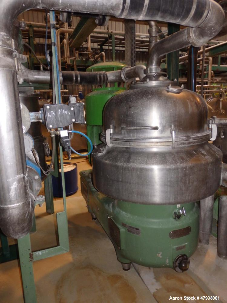 Used- Westfalia DA-100-06-117 Nozzle Disc Centrifuge. Stainless steel construction (product contact areas), max bowl speed 3...