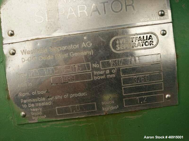 Used- Westfalia DA-100-76-016 Nozzle Disc Centrifuge. Stainless steel construction (product contact areas), max bowl speed 3...