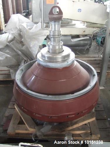 Used- Westfalia DA-200-76-573 Nozzle Disc Centrifuge. Max bowl speed 3080 rpm, belt drive, 150kw drive motor 500/3/50, 1.5kw...