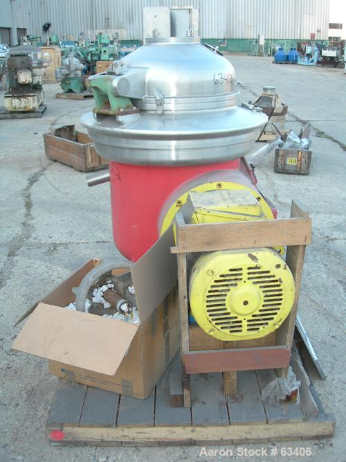 Used- Westfalia DA-40-11-016 Nozzle Disc Centrifuge. 316 Stainless steel construction. Maximum bowl speed is 5000 rpm by a 3...