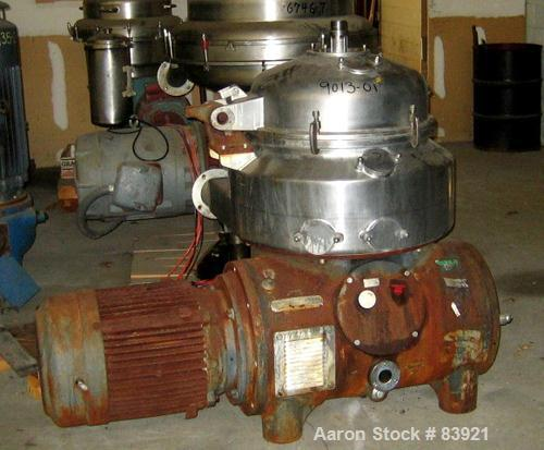 USED: Westfalia HDA-75-06-016 nozzle centrifuge. Stainless steel contacts. 60 hp motor, 3/60/230-460. 5500 rpm, solids 1.03 ...