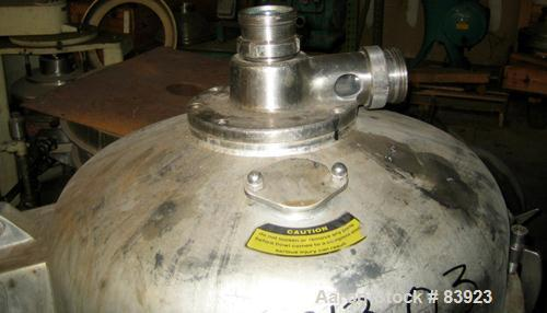 USED: Westfalia HDA-75-06-016 nozzle centrifuge. Stainless steel contacts. 60 hp motor, 3/60/203-460. 5500 rpm, solids 1.03 ...