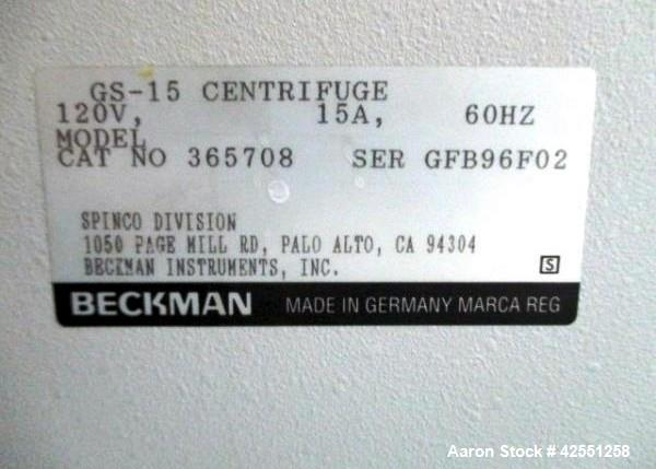 Used-Beckman centrifuge, model GS-15, capable of zero to 14,500 RPM, 120 volt, serial# GFB96F02.