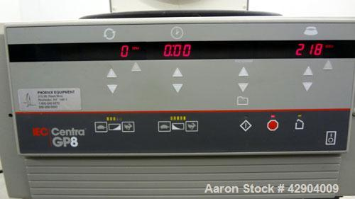 Used- IEC Centra GP8 Ventilated Centrifuge, Model 5681. Maximum rpm 4600. Includes a type 218 rotor with (4) swinging bucket...