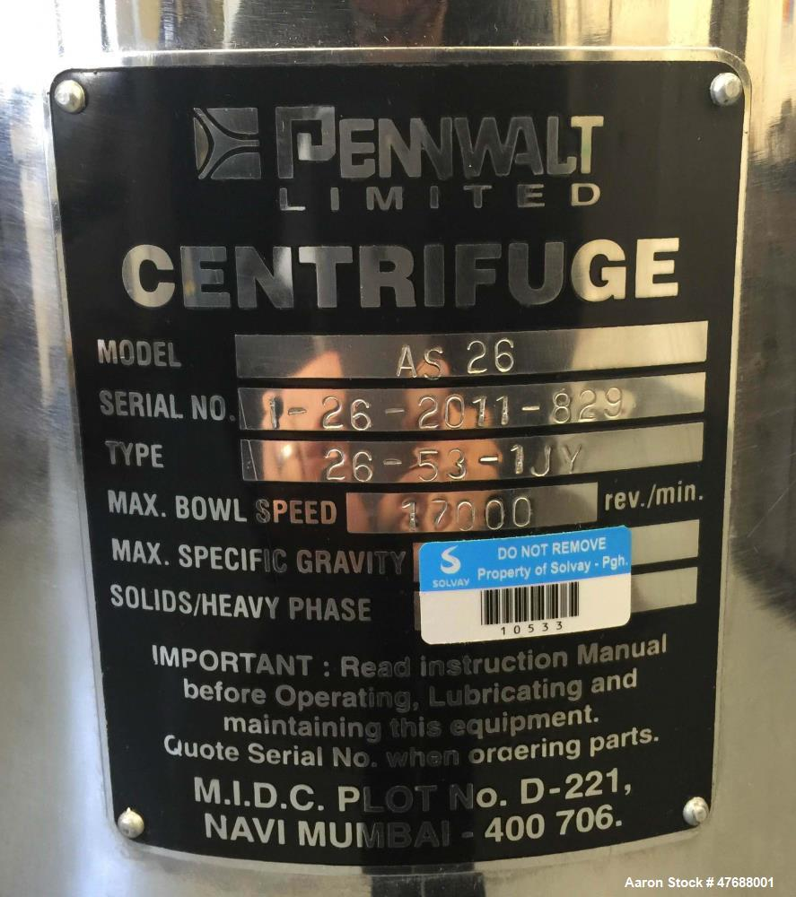 Used- Pennwalt AS-26 Supercentrifuge