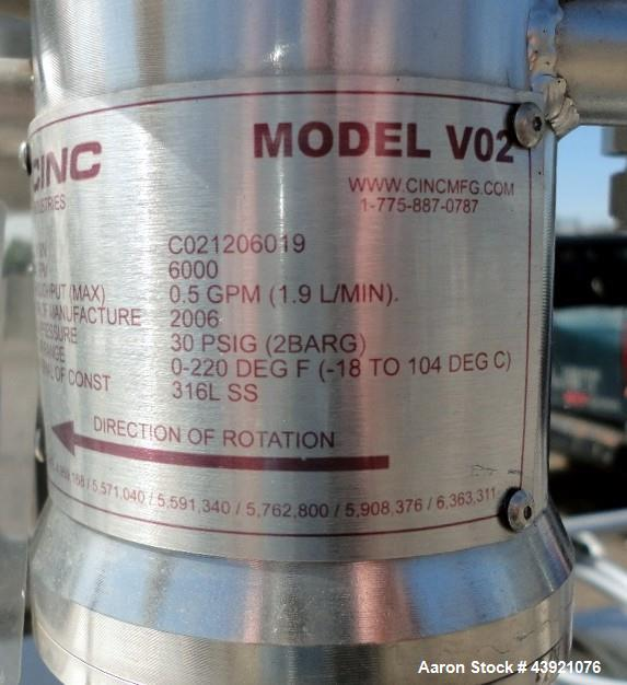 Used- CINC Industries V0-2 Centrifuge, 316L Stainless Steel Construction. Rated 0.5 gallons per minute at 30 psi at 220 degr...
