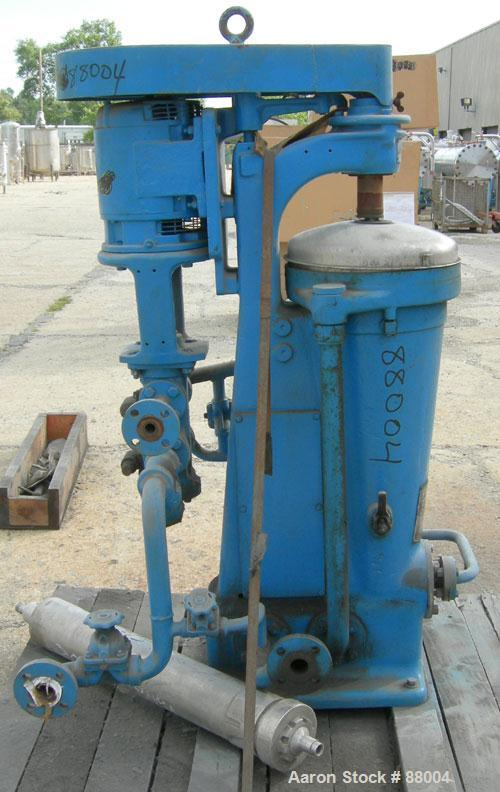 USED: Sharples AE-15MV Enbloc lube oil purifier. Max bowl speed 15,000 RPM. Driven by a 3 HP, 3/60/230/460 Volt, 3450 RPM mo...