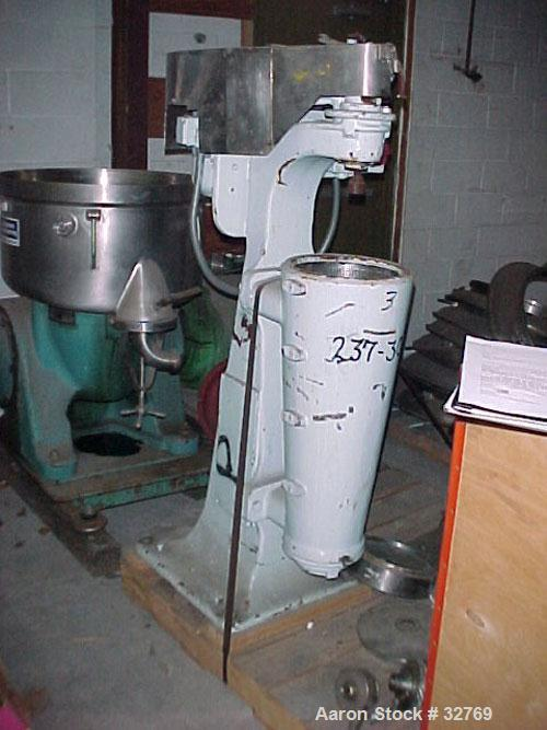 Used- Sharples AS-16 Super Centrifuge, 316 Stainless Steel. Maximum bowl speed 15,000 rpm, clarifier design. Cooling coils. ...
