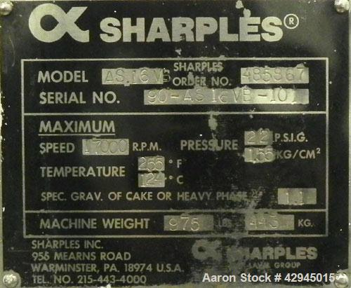 "Used- Sharples AS-16VB ""Aseptic Biological"" Super Centrifuge Frame Assembly. Stainless steel construction (product contact a..."