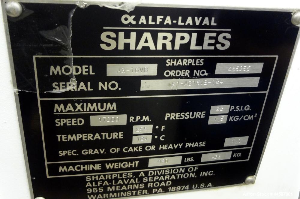 "Used- Sharples AS-16VB ""Aseptic Biological"" Super Centrifuge.  316 Stainless steel construction (product contact areas), max..."