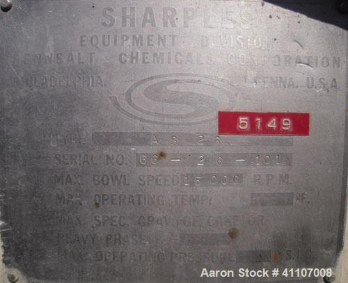 Used- Sharples AS-26 Centrifuge, 17-4 PH.  15,000 rpm max bowl speed. Driven by a 5 hp, 3510 rpm.