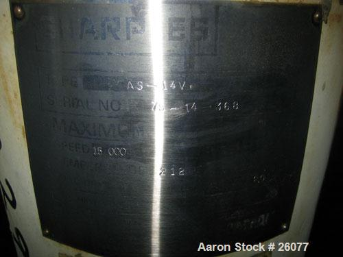 Used- Sharples AS14V Super Centrifuge. 316 stainless steel bowl and covers. Maximum bowl speed 15,000 rpm. Front drag assemb...