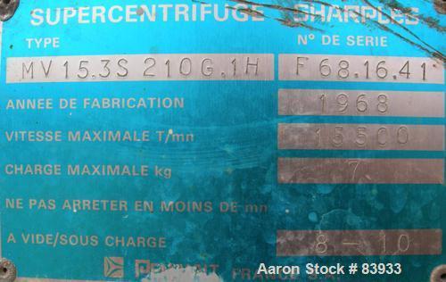 Used- Stainless Steel Sharples Super Centrifuge,  MV16.3S.210.1H