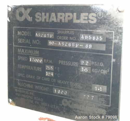 Used- Stainless Steel Sharples Aseptic Biological Super Centrifuge, AS-26SP