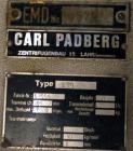 Used- Stainless Steel Carl Padberg High Speed Centrifuge, Type 61G