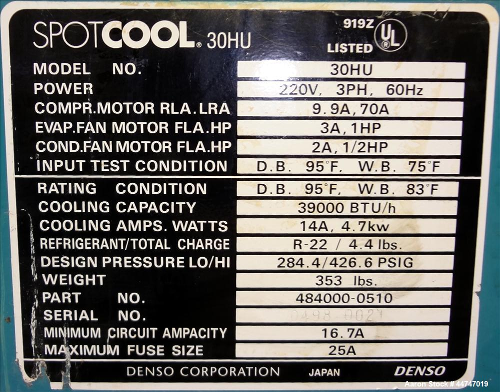 Used- Denso Spot Cool Air Conditioner, Model 30HU. Approximate 3.25 Ton cooling capacity, rating condition D.B. 95 degrees F...