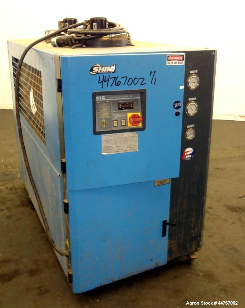 Used- Shini Budzar SIC Series Air-Cooled Chiller, 10 Tons, Model BWA-AC-10-FCB-22-0-000. Flow rate 24 gallons per minute, te...