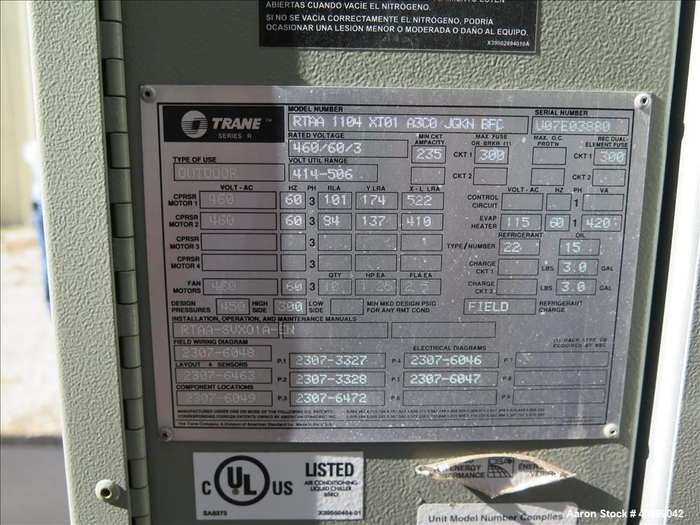 Used- Trane 110T Air Cooled Rotary Liquid Chiller, Model RTAA 1104 XT01 A3C0 JGKN BFC, Serial # U07E03880.  Built in 2007.