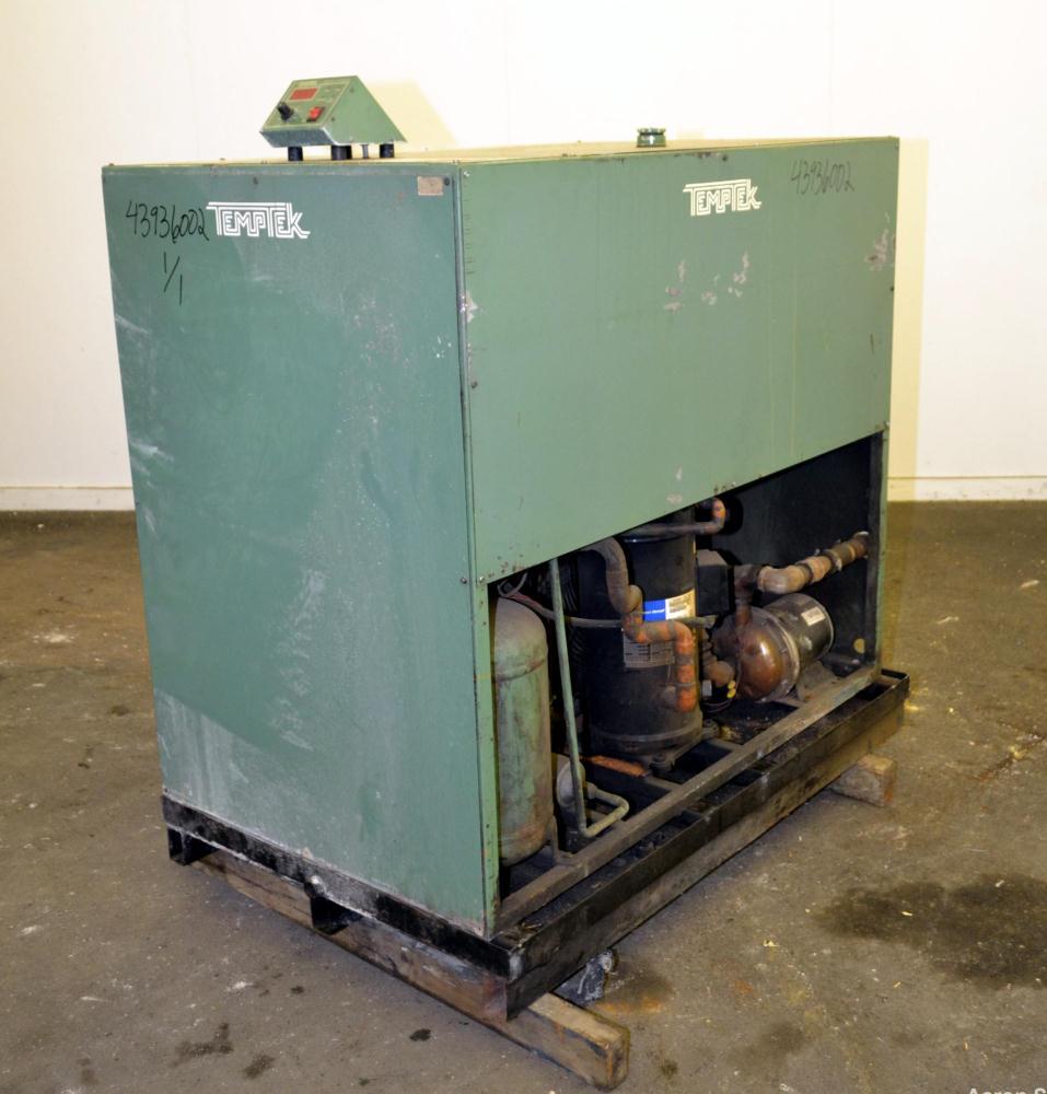 Used- Temptek Air Cooled Chiller, Model A-10. Approximately 10 tons. Temperature range 20-60 degrees F. 3/60/460 volt.  Maxi...