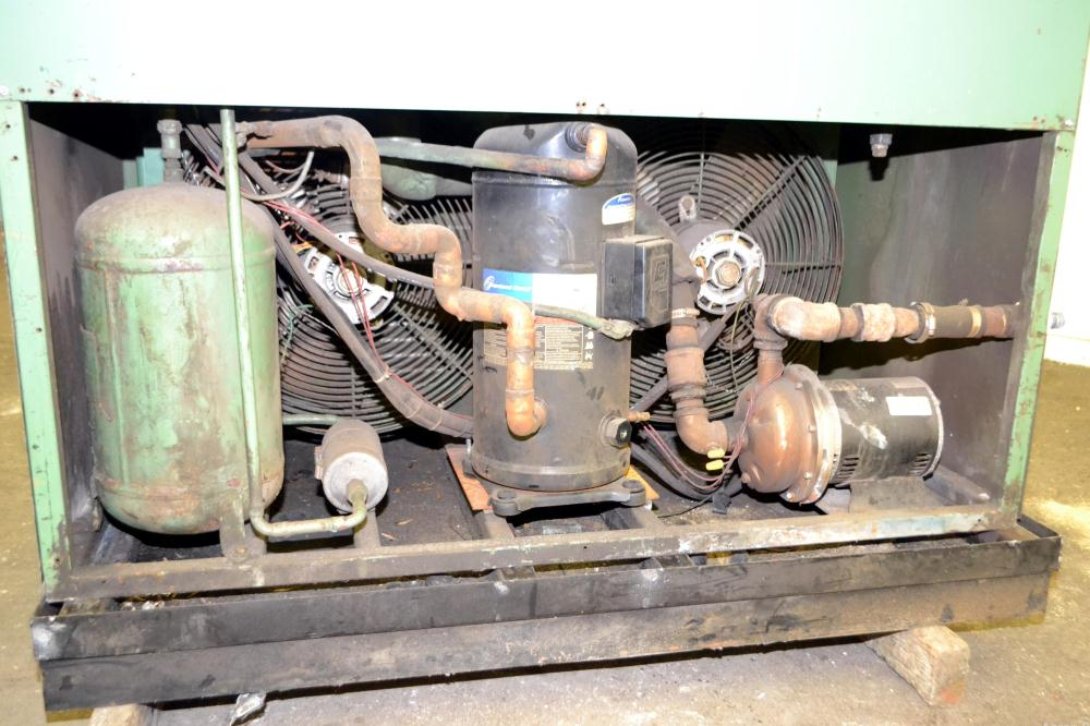 Used- Temptek Air Cooled Chiller, Model A-10. Approximately 10 tons. Temperature range 20-60 degrees F. 3/60/460 volt.  Maxi...