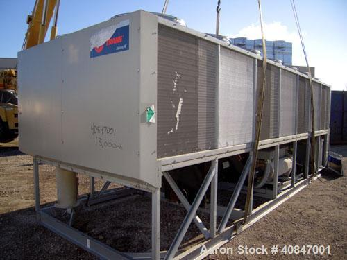 Used- Trane Air Cooled Chiller, 250 Tons, Model RTAC2504UDONUAFNN1NY1TENBAONN1ONROFXN, manufactured in 2002. Designed for 46...