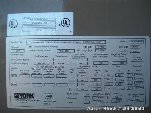Unused-York 418 ton, model YCAS0418EB46YGADBT screw compressor, 430/3/60 volts. R-407C refrigerant, high efficiency, Black F...