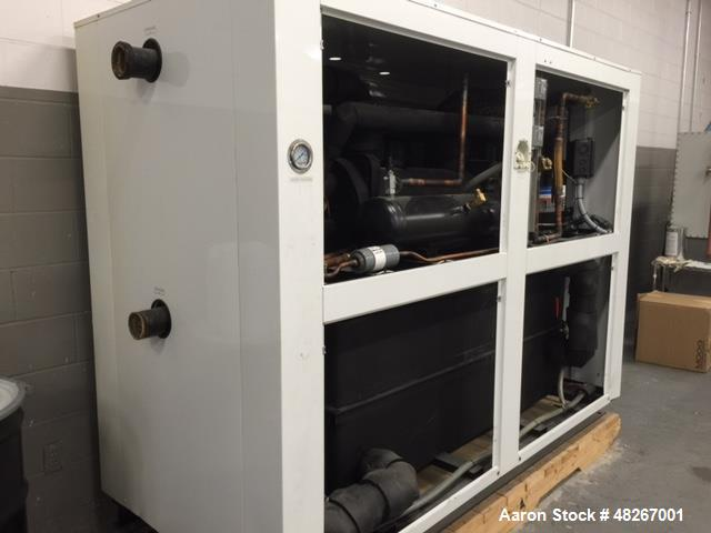 Used- ArctiChill Chiller, 40 Ton, Mode PACRPV0400D4. 250 Gallon tank capacity. Test pressures: refrigerant 450 PSI. Water 25...