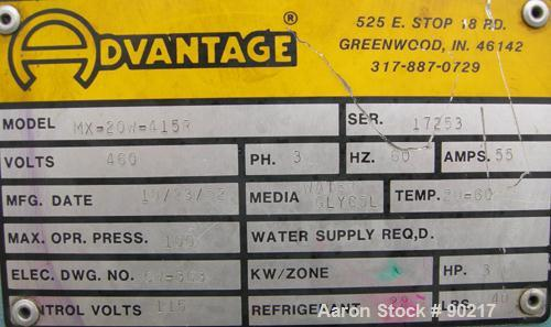 USED: Advantage portable chiller, maximum series, 20 ton, model MK-20W-415R. 3/60/460 volt, 33 amp. Media glycol/water. Temp...
