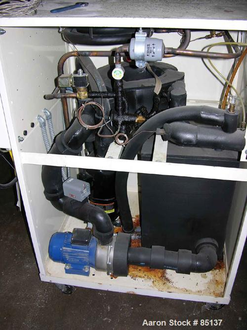 USED: AEC portable chiller, 5 tons, model PKW-5Q. Water cooled, 3/60/460 volt, min temp 20 deg F, R22 refrigerant. Mounted o...