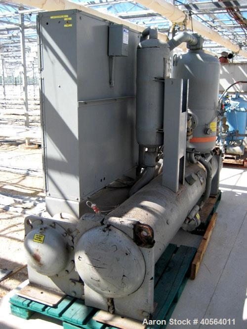 Used- Dunham Busch, model WCFFX12BAS, 30 ton capacity glycol chiller. Uses R-22 refrigerant, skid mounted with 6 ft long x 4...