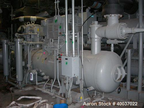 Used- Frick Rotary Screw Packaged Chiller, Model RWB II 480E. Approximately 300 ton at -15 deg F. 300 psi, 700 hp motor, rpm...