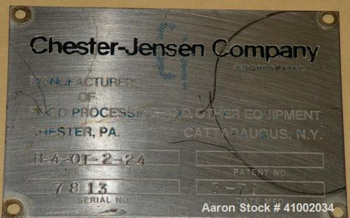 Used- Chester Jensen Open Type Chilled Water Unit, Model B-4-OT-2-24, 304 stainless steel. Approximate cooling capacity 70 t...