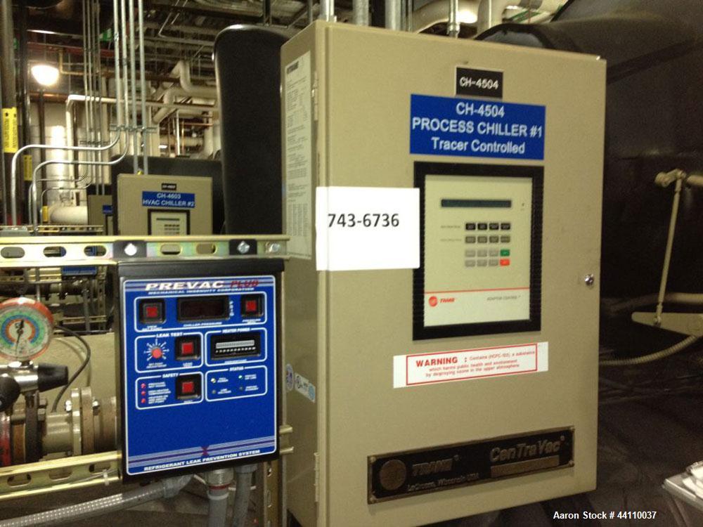 Used- Trane CentraVac Chiller, Model CVHE 450. R123 Refrigerant. 206 KW, 3/60/4160 V. Serial # L00B00626.