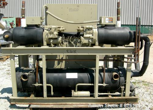 Used- Trane Indoor Water Cooled Rotary Liquid Chiller, 100 Ton, Series R, Model RTUA1004XB01R300V. Temperature range 40 to 6...