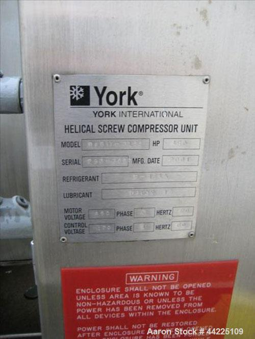 Used- York Helical Screw Compressor, 130 Tons. 130TR Slytherm XLT chiller package. Model RWB11-316F. 450 hp. 134A refrigeran...