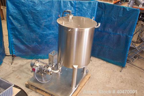 "Used-C I P System, stainless steel, consisting of 100 gallon tank, 30"" diameter x 36"" deep sloping bottom, 2"" diameter s.b.o..."