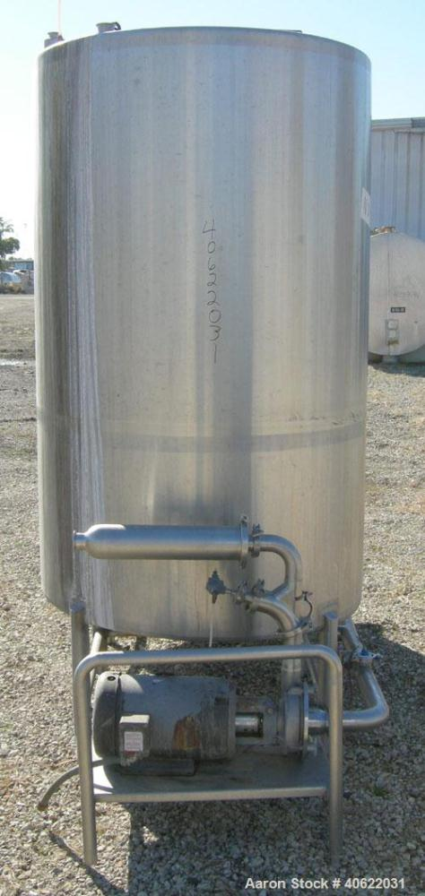 """Used- CIP System Consisting of: (2) approximate 530 gallon tanks, 304 stainless steel. Each tank measures 46"""" diameter x  74..."""