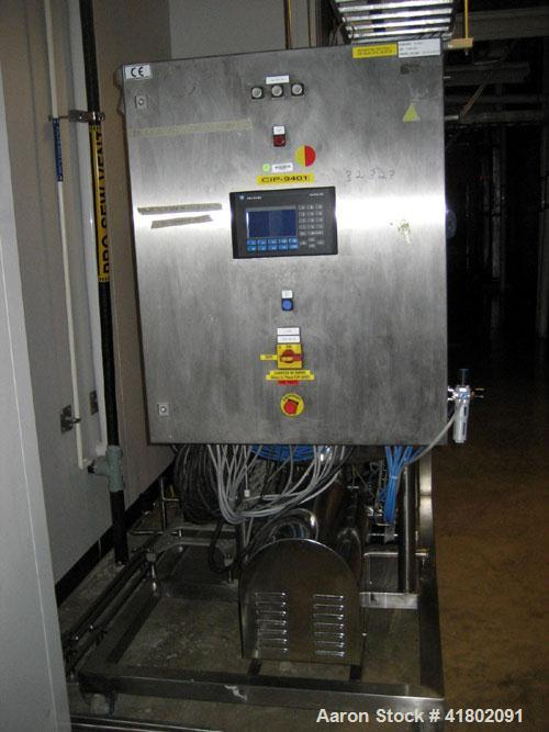 """Used- CIP System consisting of: (1) Approximate 114 gallon stainless steel tank, 29"""" diameter x 40"""" straight side; plate hea..."""