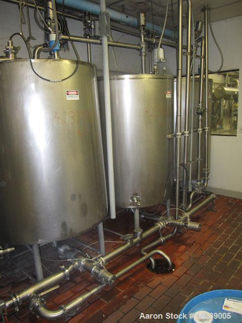 "Used-3 Tank CIP System rated at 150 GPM consisting of the following:  (3) Tanks each 475 gallon, stainless steel, 48"" diamet..."