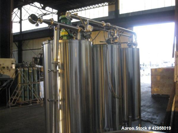 "Used- CIP system, with (3) approxiamtely 65 gallons stainess steel tanks, 24"" diameter x 48"" straight side, flat top with co..."