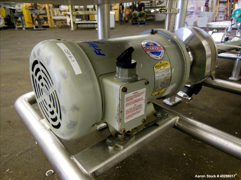 Used- Custom Stainless Steel Fabricating CIP Clean In Place Skid, 316 Stainless Steel. Consisting of: (1) Approximate 50 gal...