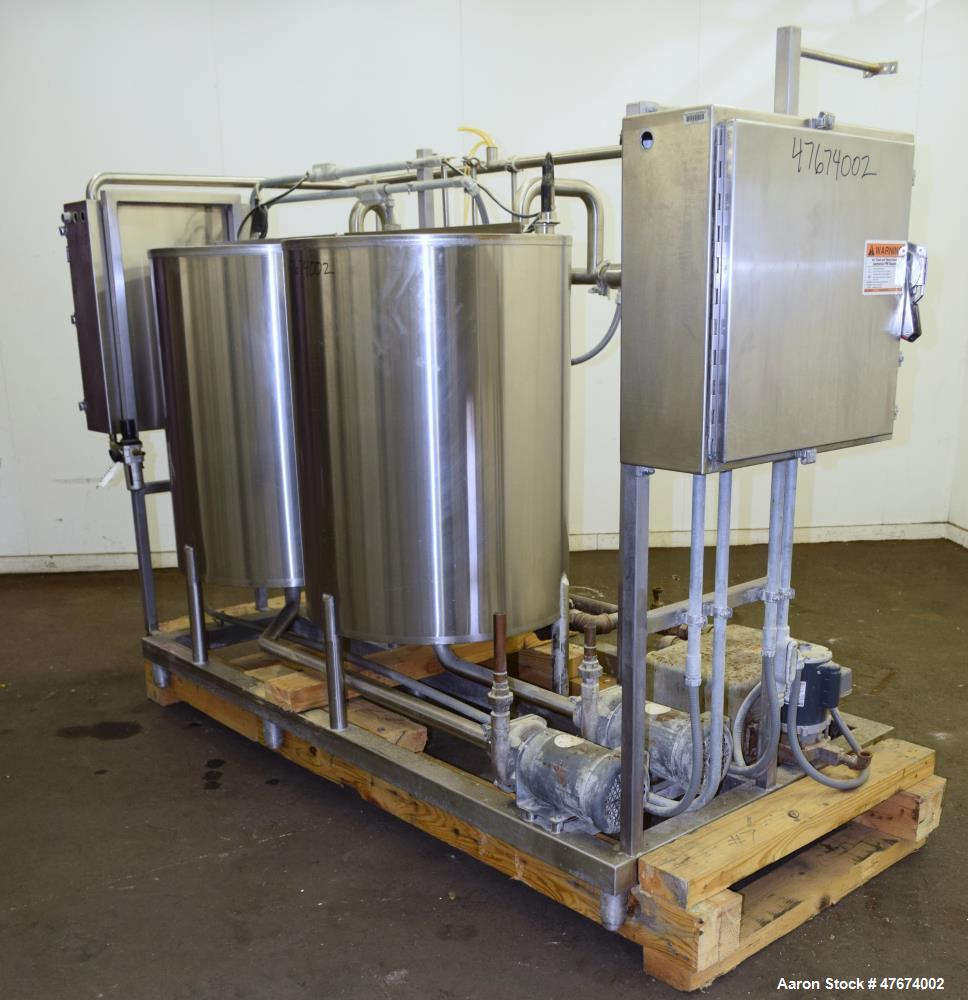 "Used- Clean-In-Place System consisting of: (2) tanks, approximate 100 gallon, 304 stainless steel. 30"" Diameter x 40"" straig..."