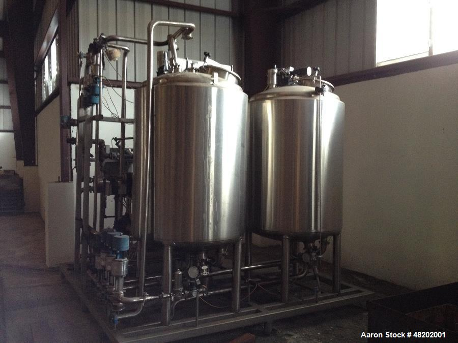 Unused Clean-In-Place System. Consisting of: (2) Watson Metal Masters tanks, approximate 500 gallons each, 304 stainless ste...