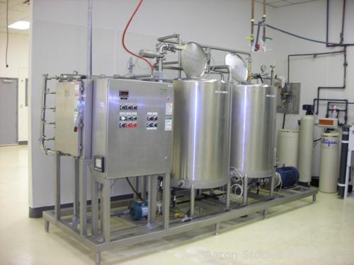 "USED: APV Ultrafiltration system, stainless steel, consisting of: (2) 250 gallon stainless steel tanks, 48"" diameter x 34"" d..."