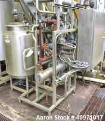 Used- Clean In Place CIP System Consisting Of: (1) Approximate 75 gallon stainless steel tank, (1) Enerquip shell & tube hea...